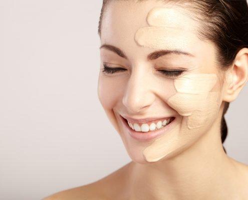 Liquid Foundation on a Woman's Face