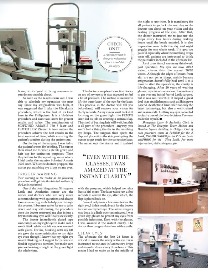 Shinagawa Lasik & Aesthetics for MEGA Magazine 2019   News & Events